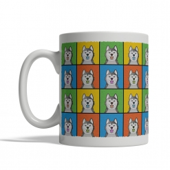 Alaskan Malamute Dog Cartoon Pop-Art Mug - Left View