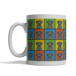 Black & Tan Coonhound Dog Cartoon Pop-Art Mug - Left View