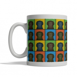 Curly Coated Retriever Dog Cartoon Pop-Art Mug - Left View