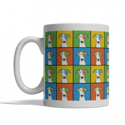 Greyhound Dog Cartoon Pop-Art Mug - Left View
