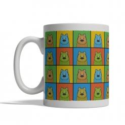 Keeshond Dog Cartoon Pop-Art Mug - Left View