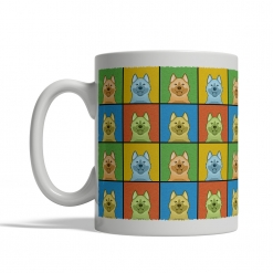 Norwegian Elkhound Dog Cartoon Pop-Art Mug - Left View