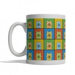 Norwegian Elkhound Dog Cartoon Pop-Art Mug - Left View