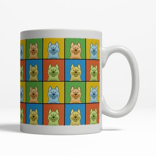 Norwegian Elkhound Dog Cartoon Pop-Art Mug - Right View
