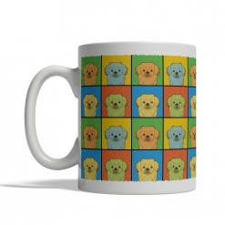 Tibetan Spaniel Dog Cartoon Pop-Art Mug - Left View