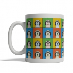 Tibetan Terrier Dog Cartoon Pop-Art Mug - Left View
