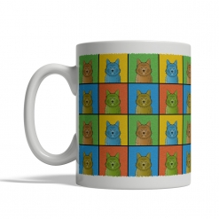 Australian Terrier Dog Cartoon Pop-Art Mug - Left View