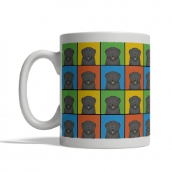 Black Russian Terrier Dog Cartoon Pop-Art Mug - Left View