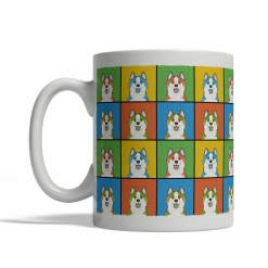 Icelandic Sheepdog Dog Cartoon Pop-Art Mug - Left View