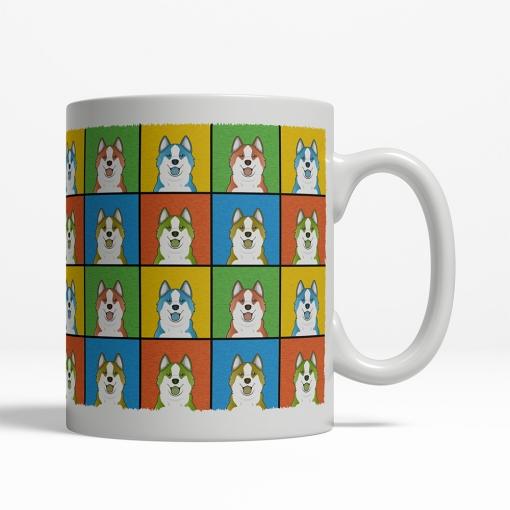 Icelandic Sheepdog Dog Cartoon Pop-Art Mug - Right View