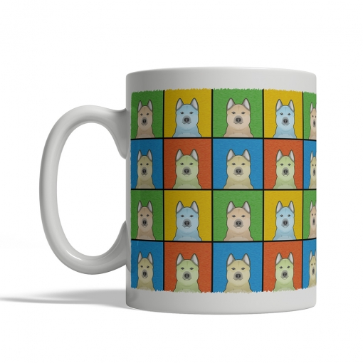 Norwegian Buhund Dog Cartoon Pop-Art Mug - Left View