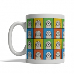 Polish Lowland Sheepdog Dog Cartoon Pop-Art Mug - Left View