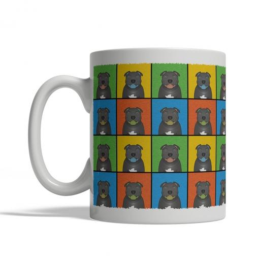 Staffordshire Bull Terrier Dog Cartoon Pop-Art Mug - Left View