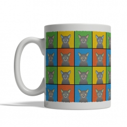 Russian Blue Cat Cartoon Pop-Art Mug - Left