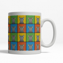 Russian Blue Cat Cartoon Pop-Art Mug - Right