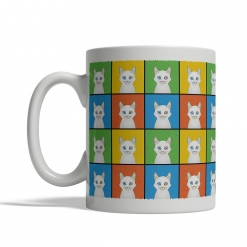 Turkish Angora Cat Cartoon Pop-Art Mug - Left