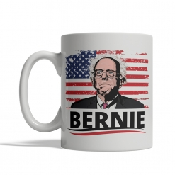 Bernie Sanders Cartoon Flag Mug Front