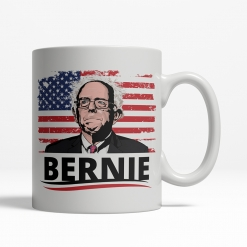Bernie Sanders Cartoon Flag Mug Back