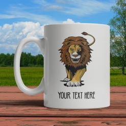 Stalking Lion Personalized Mug Front
