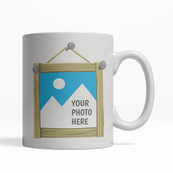 custom wood frame photo coffee cup