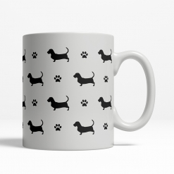 Basset Hound Silhouette Coffee Cup