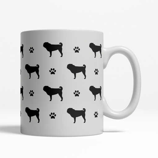Pug Silhouette Coffee Cup