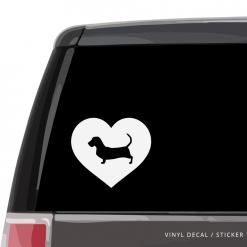 Basset Hound Heart Custom Decal