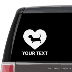 Basset Hound Heart Car Window Decal