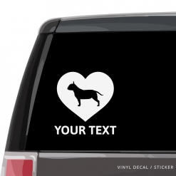 Bull Terrier Heart Car Window Decal