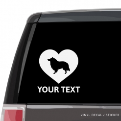Collie Heart Car Window Decal
