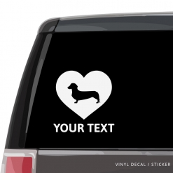 Dachshund Heart Car Window Decal