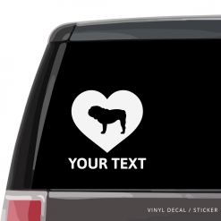 English Bulldog Heart Car Window Decal