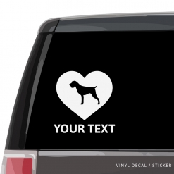 German Wirehaired Pointer Heart Car Window Decal