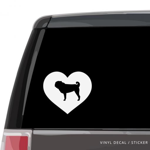 Pug Heart Custom Decal