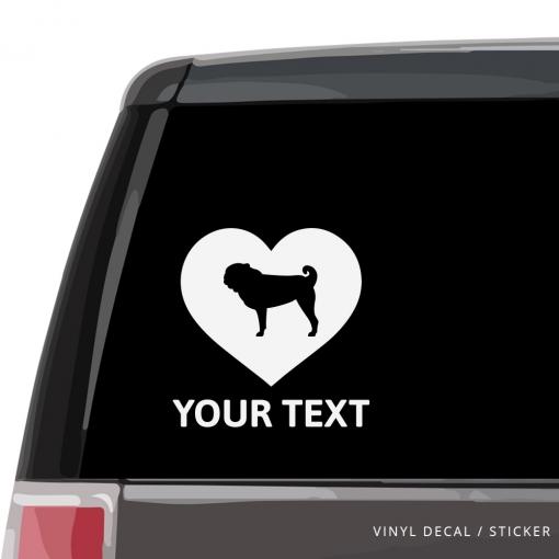 Pug Heart Car Window Decal