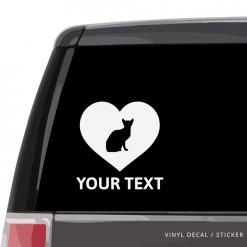 Abyssinian Cat Heart Car Window Decal