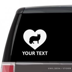 Maine Coon Cat Heart Car Window Decal