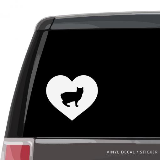 Manx Cat Heart Custom Decal