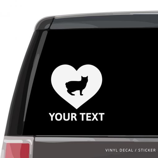 Manx Cat Heart Car Window Decal