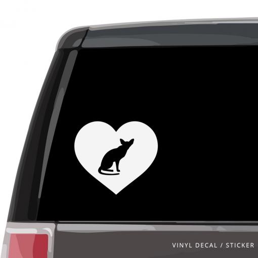Oriental Shorthair Cat Heart Custom Decal