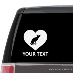 Oriental Shorthair Cat Heart Car Window Decal