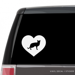 Russian Blue Cat Heart Custom Decal