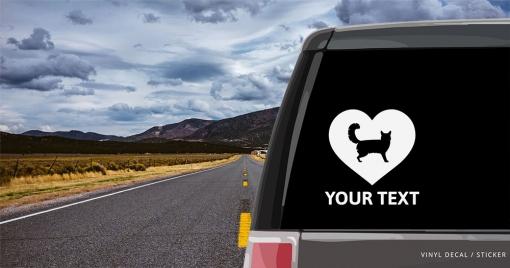 Somali Cat Heart Sticker